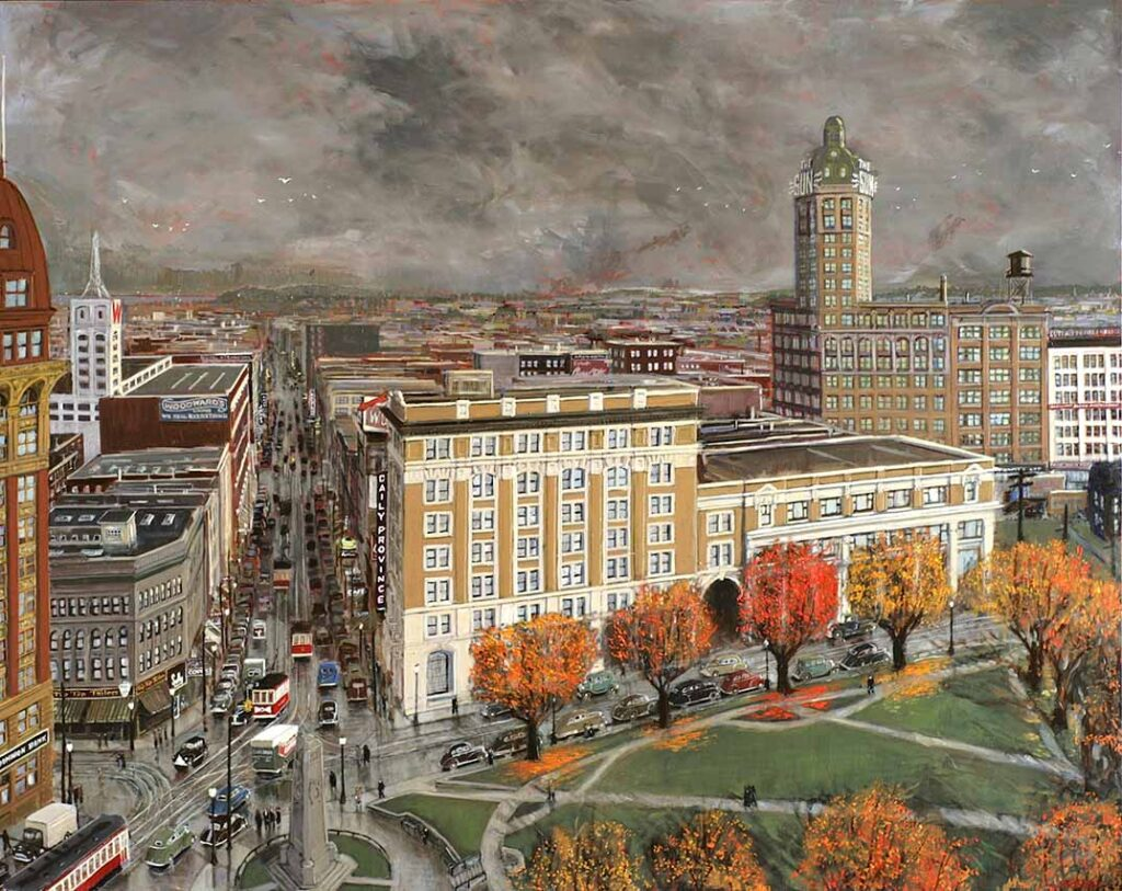 Victory Square painting by Tom Carter